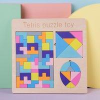 Montessori Montessori Tetris Quebra-cabeça Pré-escolar Figuras Geométricas Educacionais Brinquedo Tangram Montessori Jigsaw Puzzle Board Set