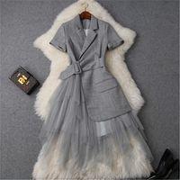 CBAFU uzun elbise kemer kısa kollu tül ile P885 patchwork yazlık elbise ofis parti elbiseler örgü ceket yaka çentikli