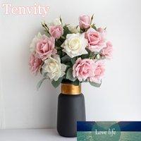 Longues fleurs artificielles de soie rose gros bouquet de haute qualité blanc pour la maison de mariage décoration arrangement belle fausse fleurs