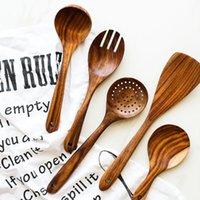 Teak Деревянные ложки суповые ложки ложки дуршарного шпателя маленькая рисовая ложка для еды смесительное перемешивание приготовление высококачественных кухонных инструментов