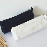 일본식 라운드 빈 캔버스 지퍼 연필 케이스 펜 파우치 코튼 화장품 가방 메이크업 가방 휴대 전화 클러치 백