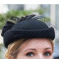 100% wol fascinator winter elegante vrouwen pillendoos hoed zwart vilt rode dames bruiloft baret hoeden strik Kentucky Derby Fedoras y1105