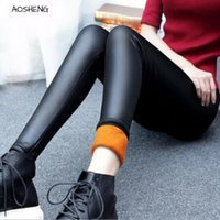 Más Velvet Faux Leather Legging Women Winter Legging Cálido Gran Tamaño Black Leggings Calzas Mujer Leggins Grueso Fleece Sexy Y081 201202