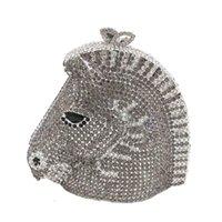 Kobiety Horse Head Shape Torby wieczorowe na imprezę Crystal Evening Clutches Metallic Minaudiere Torby do ślubu Rhinestone Torebka Party Torba