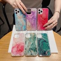 Marmo Foil TPU per Iphone XR 8 copertura del telefono 12 Mini Pro Max 11 XS MAX X 7 Bling doratura paillettes Sparkle Pietra Roccia Confetti Flake