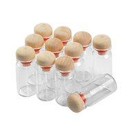8 ml Glasflaschen-Anhänger mit Kork Holz Stopper Hochzeit Geschenk Gläser Vials Diy Dekoration-Fertigkeit 100pcs
