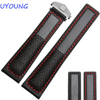 Hot Sales 22mm Black red Genuine Leather Watch Band Men Air ...