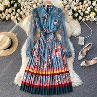 Casual kleider foamlina elegante frauen mode frühling herbst runway dress blau mesh spitze langarm bogenhals floral druck office plisated