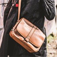 Bolsa de liga de negócios de couro Aetoo, saco cruzado de couro de couro de cabeça masculina, bolsa de ombro de couro horizontal