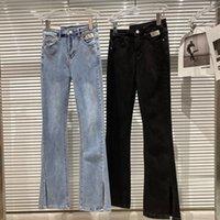 جينز المرأة Deat 2021 الربيع القادمون بلون الطبيعة الطبيعة الخصر الجيب القماش السراويل الساق انقسام سليم صالح اندلع MZ397