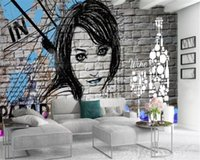 Minimalista tijolo 3d Wallpaper Modern parede Illustrated Beautiful Girl and Wine Sala Quarto TV fundo Papel de Parede Parede