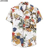 KLV T-shirts Mens Summer Ethnic Manches Courtes Casual Coton Coton Impression Hawaiian Shirt Chemis Blouse Beachwear 2020 Nouvelle vente chaude 1219