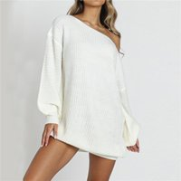 Casual Dresses Frauen trägerlosen Laterne Ärmel Strickpullover Kleid Winter Herbst Mode 2021 1