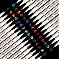 30 цветов маркеров устанавливают тонкоосредоточенные металлические маркерные ручки для черной бумаги Картина рок-роспись DIY изготовление изделий из искусства 201222
