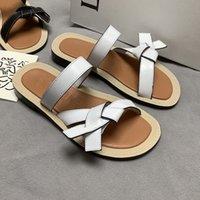 진짜 가죽 높은 수준의 패턴 여성 여름 신발 슬리퍼 니트 디자이너 여성 패션 캐주얼 플랫 디자인 송료 무료로