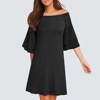 Kadınlar Katı Renk Gevşek Rahat Yaz Elbise Kısa Zarif Fırfır Kol Parti Elbise HA1651
