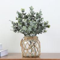 Faux Eukalyptus Blätter künstliche Grüne Stiele Gefälschte grüne Pflanzen Niederlassungen DIY Home Hochzeits-Party-Dekoration JK2101XB