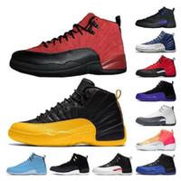 scarpe da uomo scarpe da ginnastica Trainer raso pallacanestro all'ingrosso Athletic Shoes 12s jumpman Università Gold Stone Blu 12 Reverse Flu gioco formato degli Stati Uniti 13