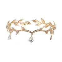 Vintage Crystal Bridal Capel Accessorio di nozze Strass Waterdrop Leaf Tiara Corona Corona Frontlet Bredinella dei capelli gioielli J0121