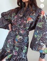 2020 Осень / зима европейские и американские новые женские платья круглые шеи печать шаблон соответствия цвета декоративный лист лотоса маятник талии