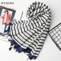 Bufandas bufanda a rayas para las mujeres otoño primavera invierno estilo japonés fresco largo palillo silenciador muffler oficina