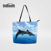 Dispalang милая леди многоразовая сумка для покупок дельфин кит животное удобная большая емкости продуктовые сумки женские туристические организации