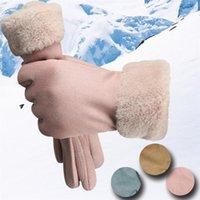 Fünf Fingerhandschuhe 1 Paar Mode Hohe Qualität Frauen Nachahmung Leder Herbst Winter Warm Pelz Mitte2021 Geschenk1