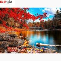 Алмазная Мозаика Пейзаж Полный плацу Кленовые листья Гостиная украшения 5D DIY Алмазные Картина Осень реки XY1
