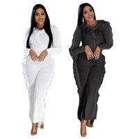 Мода Soild Color Womens Двухструктура набор экипажа шеи женские трексуиты повседневная с кисточкой двух частей штаны