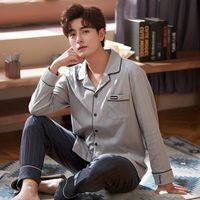 Sleepwear da uomo autunno pigiama invernale set manica lunga o-collo allentato pijama pigiama homme lettera stampata morbida abito casual casual