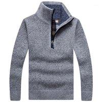 Пуловер мужской густой теплый вязаный пуловер мужской свитер сплошной модные водолазки свитера пол Zip теплый бене зимнее пальто Survey1