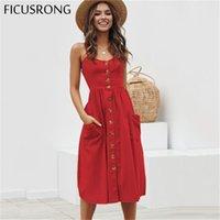Элегантная кнопка Женское платье в горошек красное хлопок MIDI платье лето вскользь женщина плюс размер леди пляж vestidos ficusrong y200101