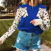 Suéter das Mulheres FSDA Leopard Impresso Mulheres Sweater de malha Outono Outono Inverno Pulôver Casual O Casual O Pescoço Preto Green Grey Feminino Jumper1