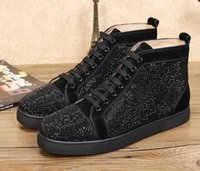 DesignersLouboutinChristianluxurys casual new Suede With Rhinestone Luxury High Top Red Bottom Casual Shoes 36-47 men s YSB