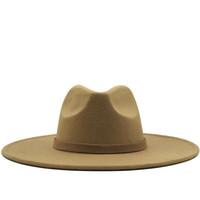 Amplio sombrero de ala Fedora para mujeres sombrero de fieltro de lana de color sólido para hombres Otoño Invierno Panamá Gamble Gray Jazz Cap Q1216