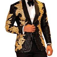 AESIDO Luxury Prom Smoking Männer Anzüge Glänzende Pailletten Gold Applique Partyjacke Blazer für Hochzeitsbrühe 2021 201123