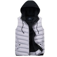 Autumn & Winter New Style Men Hooded Solid Color Thick down Jacket Cotton-padded Clothes Vest Large Size Cotton-padded Clothes W