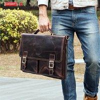 حقائب حقائب جلدية أوروبية والأمريكية حقيبة الأعمال حقائب اليد حقيبة كمبيوتر محمول متعدد الوظائف الرجال الكتف / أكياس crossbody