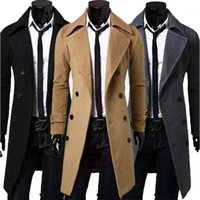 Khaki Trenchcoat Herren Winterjacke Casual Warme lange Jacke Männer Übergroßen Windjacke Mantel Zweireiher Männliche Mäntel1