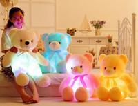 30 سنتيمتر 50 سنتيمتر القوس التعادل تيدي الدب دمية الدب مضيئة مع مدمج في أدى ضوء ملون ضوء مضيئة هدية عيد الحب هدية أفخم لعبة
