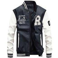 CYSINCOS chaqueta de los hombres del béisbol del bordado chaquetas de la PU de la capa de cuero Slim Fit lujo paño grueso y suave de la motocicleta Piloto chaquetas Casaco Masculino 201022