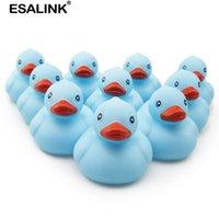 Esalink 10 pcs 7 cm série azul natação brinquedos de água colorido macio flutuante borracha pato banho brinquedo para bebê banho brinca 201015