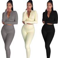 Slim Womens Designer Trainingsanzüge Mode Reißverschluss Langarm Lange Hosen Womens 2pcs Sets Casual Sport Stil Weibliche Kleidung