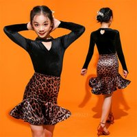 110-180Latin Dance Dress Kids Adult Salsa Ballroom Tango Cha Baby Girl Leopard Vestidos Solid Women Full Prefessional Costume