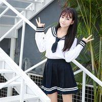 Japanische Schuluniform Kawaii Mädchen JK Anzug Frau 2PC Highschool Student Sailor Navy Set Cosplay Kostüme Anime Plissee Röcke 201123