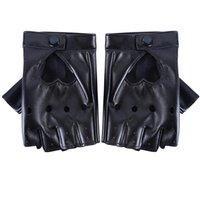 Пять пальцев перчатки 1 вария женщин мода искусственная кожа черная половина пальца крутое сердце лоб парк мальчик для фитнеса