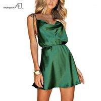 Casual Dresses Ael grüne Spaghetti Strap Sexy Satin Kurzes Kleid 2021 Sandbeacher Holiday Chic String Taille Damen Qualitätsbekleidung1