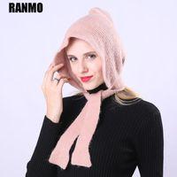 Beanie / Capas de calavera Ranmo Marca de encaje Hats de invierno Moda de moda Casual Rojo Rosa Chica de punto Hecho de lana Bufanda femenina Skullies creativas Gorros Cap1
