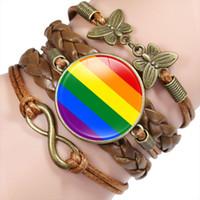 قوس قزح المثليين المثليين العلم الزجاج كابوشون سحر جلدية التفاف أساور أساور للنساء رجال سوار مجوهرات