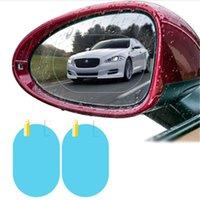 2 adet / takım Yağmur Geçirmez Araba Aksesuarları Araba Ayna Pencere Temizle Film Membran Anti Sis Anti-parlama Su Geçirmez Sticker Sürüş Güvenliği R 44 K2